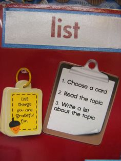 Make list ideas for work on writing.  A download for the list cards are available.