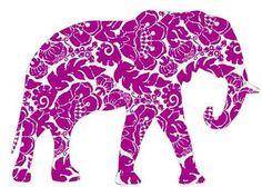 Purple floral elephant