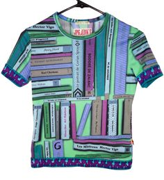 Jean Paul Gaultier Tee Shirt Top with a print of colorful library books.