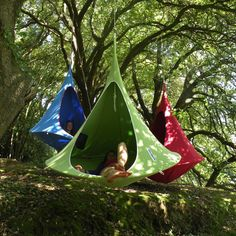 Cacoon Hanging Chair - Hang it from a tree in your yard or take it when you go camping and you have a suspended tent-like space to chill out in. Decide if you want to relax alone in a single or with another person in the double, either way it's the perfect hanging outdoor oasis.