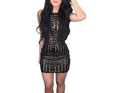 Women's Sexy Black Sequin Geometric Bodycon Club Mini Party Dress