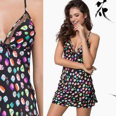 Camisola com estampa divertida de Sushi! Silk Satin Nightgown
