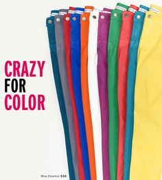Bright Color Straight and Skinny jeans are hot hot hot in 2012  These by Blue Essence and Rag n' Bone