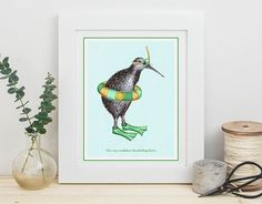 Snorkelling print, snorkelling swimming Kiwi bird print, 5 x 8 x 10 and 11 x 14 Kiwi Bird, Kiwiana, Snorkelling, Bird Illustration, Bird Prints, Decoration, Coloring Books, Greeting Cards, Drawings
