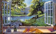 Bluebells by Stephen Darbishire. Massive range of art prints. Quality UK framing & Money Back Guarantee! Open Window, Window Art, Creation Photo, Looking Out The Window, Through The Window, Amazon Art, Watercolor Illustration, Landscape Paintings, Scenery