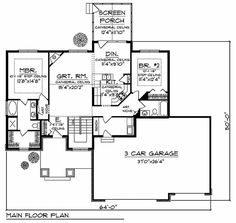 House Plan 73438 - One-Story, Traditional Style House Plan with 1428 Sq Ft, 2 Bed, 2 Bath, 3 Car Garage Luxury House Plans, Best House Plans, Dream House Plans, Small House Plans, House Floor Plans, Craftsman Style House Plans, Country House Plans, Craftsman Ranch, Maine