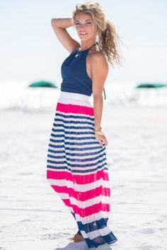 Stripe On Maxi Dress, Navy