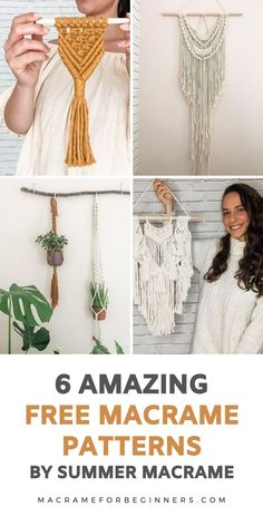 Are you looking for easy beginner Macrame projects to kick off your new favorite hobby? Macrame teacher Saskia Summer from Summer Macrame will show you exactly how to make your own gorgeous wall hangings, keychains, and plant hangers! Macrame Supplies, Macrame Projects, Macrame Cord, Macrame Jewelry, Teacher Summer, Free Macrame Patterns, Living In Dubai, Macrame Wall Hanging Diy, Plant Hangers