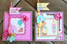 """Birthday party invitations set no. 3.  Featuring Petaloo Botanica flowers and Doodlebug """"Sweet Shoppe"""" papers.  See them on the Petaloo Blog!"""