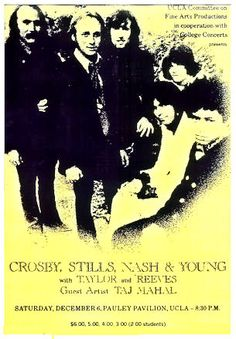 """CROSBY STILLS and NASH 1969 UCLA Concert Poster  $8.00 • 100% Mint unused condition • Well discounted price + we combine shipping • Click on image for awesome view • Poster is 12"""" x 18"""" • Semi-Gloss Finish • Great Music Collectible - superb copy of original • Usually ships within 72 hours or less with tracking. • Satisfaction guaranteed or your money back.Go to: Sportsworldwest.com"""