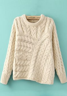 Sweater LOVE! Great Design! Cozy Winter White Geometric Irregular Long Sleeve Thick Cable Knit Sweater #Winter