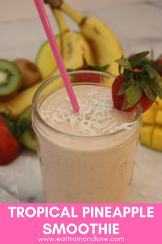 This tropical pineapple smoothie tastes like being on a tropical island, made with a frozen fruit blend that makes a perfect fast and easy breakfast for people on the go! Smoothie Recipes With Yogurt, Homemade Smoothies, Yogurt Smoothies, Healthy Breakfast Smoothies, Easy Smoothies, Fruit Yogurt, Healthy Drinks, Healthy Eats, Tzatziki