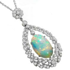 Inspired Antique Style Opal and Diamond Pendant Set in 18K New York Estate Jewelry, Israel Rose.