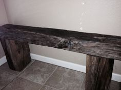 Bench built out of old railroad ties.