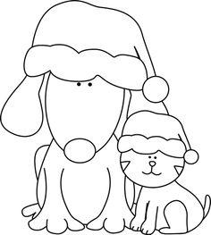 clip art black and white | Black and White Christmas Dog and Cat Clip Art - Black and White ...