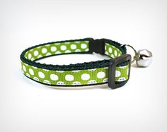 Cat Collar  Notorious  Lime Green w/ White Polka by MadeByCleo, $12.00