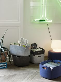 storage baskets in felt. muuto. styling: all the way to paris.