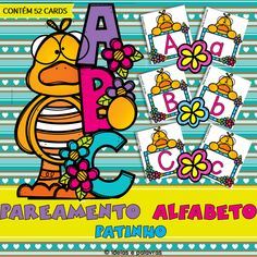 Pareamento Alfabeto Patinho   Educação Infantil Snoopy, Fictional Characters, Reading Activities, Literacy Activities, Letter Recognition, Letters Of Alphabet, Early Education, First Year, Games