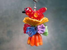 Lampwork Glass Jewelry Pendant Gifts of Spring Birds and Bellflowers Divine Spark Designs SRA LETeam