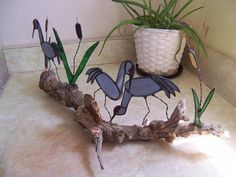 driftwood and stained glass projects   Stained Glass Sand Hill Cranes on Driftwood with Cattails