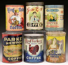 Vintage Coffee Tins More Vintage Packaging, Coffee Packaging, Vintage Labels, Chocolate Packaging, Design Packaging, Bottle Packaging, Food Packaging, Label Design, Package Design