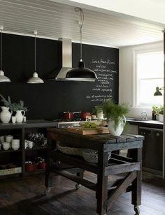 rustic industrial kitchen chalkboard wall