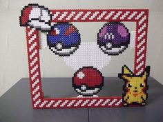 Big Pokemon photo frame made of beads by capricornc5
