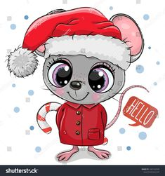 Cartoon mouse in Santa hat on a white background. Cute Cartoon mouse in Santa hat on a white background royalty free illustration Cartoon Cartoon, Disney Cartoon Characters, Cute Cartoon Girl, Santa Cartoon, Christmas Drawing, Christmas Art, Cute Animal Drawings, Cute Drawings, Cartoon Mignon