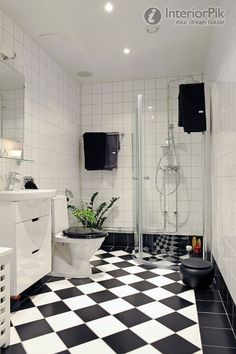 Modern Black And White Floor Tiles In The Bathroom Pictures