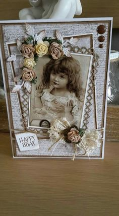 Handmade Birthday Cards, Happy Birthday Cards, Hobbies And Crafts, Diy And Crafts, Sewing Case, Heritage Scrapbooking, Mixed Media Cards, Shabby Chic Cards, Artist Trading Cards