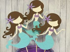 3pcs Mermaid Centerpieces, Mermaid Birthday Party, Mermaid Birthday, Mermaid Party Decorations, Mermaid Theme decor