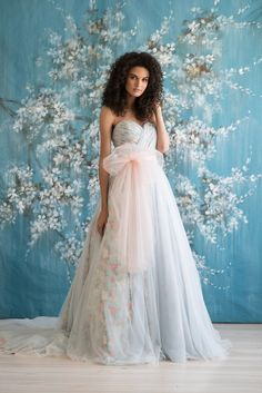 KENNEDY - Emmaline Bridal   #floral #ballgown #blue #different #bridal #gown #printed #bride #kc #ruched