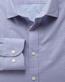 Extra slim fit sky blue and purple geometric print shirt