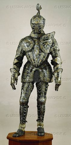 RENAISSANCE ARMOUR 16TH Piccinino,Lucio,armourer Damascened suit of armour for Alessandro Farnese (1545-1592), Governor of the Netherlands. The purely ceremonial suit is a present of King Philip II of Spain to his best general. 1578. See 17-01-02/1-28. Milan workshop, bluesteel, gold and silver, Inv. A 1132 Kunsthistorisches Museum, Ruestkammer, Vienna, Austria