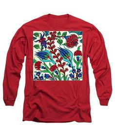 An Ottoman Iznik Style Floral Design Pottery Polychrome, By Adam Asar, No 44 A - Long Sleeve T-Shirt