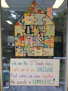 Classroom Community Activity Puzzle pieces to promote classroom unity God made us all unique for my form next year The post Classroom Community Activity appeared first on School Diy. 5th Grade Classroom, Future Classroom, School Classroom, 1st Day Of School, Beginning Of The School Year, Back To School, First Day Activities, Classroom Activities, Diversity Activities
