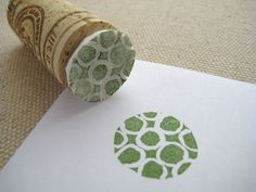 Styrofoam stamp attached to a cork