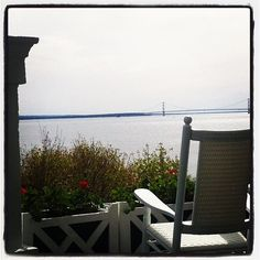 A #puremichigan view from a rocking chair on the World's Longest Porch at @Grand Hotel
