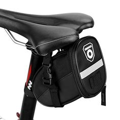 Bike Seat Packs - Enkeeo StrapOn Saddle Bike Bag SinglePocket Sealed Zipper Reflective Tape Material Portable 689472295 inches Light 023 lbs Storage Solution Nylon Fabric Black * Be sure to check out this awesome product.