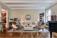 The living room's 10-foot ceilings make the apartment feel airy.