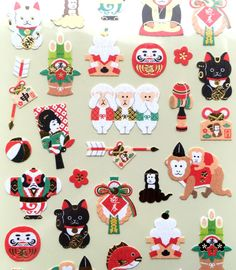 Year of the Monkey - 2016  Stickers - Japanese Chiyogami Paper Stickers - Lucky Fish -  Traditional Japanese Symbols - Lucky Cats (S291)