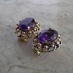 14K Pink and Yellow Gold Amethyst Earrings Retro Period 1940's