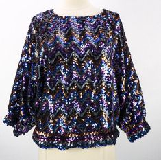 ebfb24c0f134 Vintage 80s Colorful Sequin Batwing Blouse Top (XL) Disco Zig-Zag Dolman  Tunic