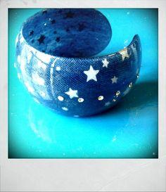 Braccialetto celeste jeans con stelle by LecosediCarla