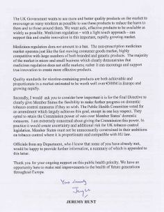 Part two of the letter written by Jeremy Hunt with regards to his stance on the proposed E-cig legislation.  The letter has been digested and an article has been written with the views of Robin, visit the following link http://www.evape.co.uk/blog/jeremy_hunt_light_touch_legislation/