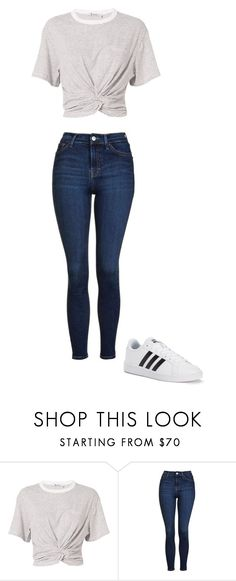 """Casual"" by mziecellerino ❤ liked on Polyvore featuring T By Alexander Wang, Topshop and adidas"