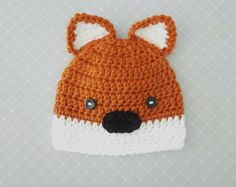 Baby Fox Hat, Crochet Baby Boy Hat Fox Beanie Hat  Any Size Newborn Hat Photo Prop on Etsy, $22.00