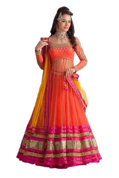 Multi Retail Orange Embroidered Net Unstitched Dress Material With Dupatta