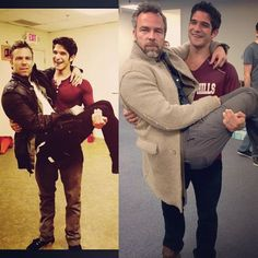 """"""" jrbourne1111 #BTS 6yrs later and not much as changed. More beard.#teenwolf…"""