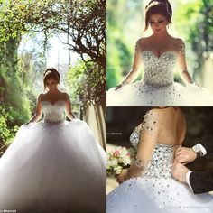 2016 Long Sleeve Wedding Dresses With Rhinestones Crystals Backless Ball Gown Wedding Dress Vintage Bridal Gowns Spring Quinceanera Dresses Tulle Ball Gown Wedding Dress Wedding Ball Gown From Weddingmuse, $158.05| Dhgate.Com